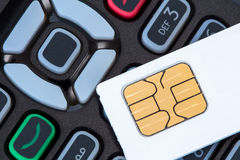 Cell phone and sim card Royalty Free Stock Photo