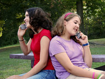 Cell phone sisters. Teen sisters on their cell phones stock image