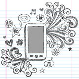 Cell Phone Sketchy Doodles PDA Vector. Mobile Cell Phone PDA Sketchy Hand-Drawn Back to School Notebook Vector Illustration Design Elements with Music Note royalty free illustration