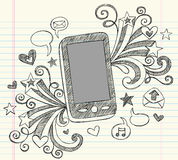 Cell Phone Sketchy Doodles PDA Vector. Mobile Cell Phone PDA Sketchy Hand-Drawn Back to School Notebook Vector Illustration Design Elements with Music Note Royalty Free Stock Images