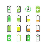 Cell phone, smartphone electric charge, battery energy vector icons. Indicator accumulator battery for phone, electric level charge of phone illustration vector illustration