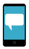 Cell Phone With Talk Bubble. Cellphone illustration with a blank talk bubble on blue screen Royalty Free Illustration