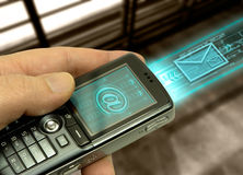 Cell Phone (technology of the. Technology concept of the communication. The cell phone transmit through the ar, important data Royalty Free Stock Image