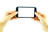 Cell phone with touchscreen in female hand on white background Stock Image