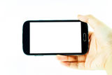 Cell phone with touchscreen in female hand on white background Royalty Free Stock Image