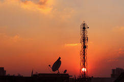 Cell phone tower and antenna Stock Images