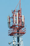 Cell phone tower. Top of cell phone tower Royalty Free Stock Photography