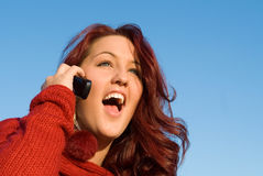 cell phone woman royalty free stock image