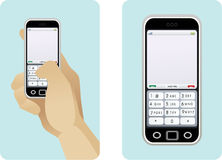 Cell Phones. A person sending a text message on a nice cell phone Royalty Free Stock Images