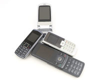 Cell phones. Older cell phones on white background Stock Photography