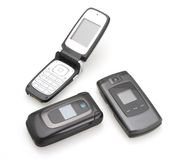 Cell Phones. Three different style of flip cell phones stock photography
