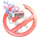 Cell phones forbidden icon. 3d rendering royalty free illustration