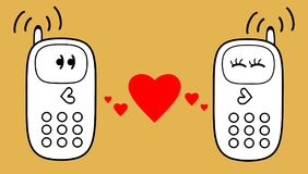 Cell phones with heart. Vector illustration. On the cell phones talk about their affectionate feelings Stock Photography