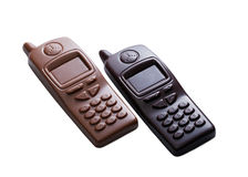 Cell phones made of dark and milk chocolate Stock Photography