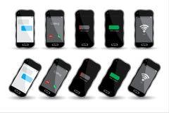 Black cell phones over white background vector illustration