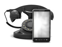 Cell and rotary phone Royalty Free Stock Photo
