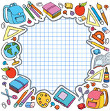cell sheet in cage with set of different school things vector bag apple Royalty Free Stock Photo