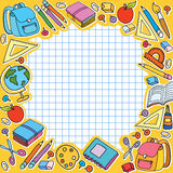 cell sheet in cage with set of different school things vector bag apple Stock Images