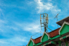 Cell site on rooftop Stock Images