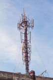 Cell site, Telecommunications radio tower. Royalty Free Stock Photos