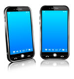 Cell Smart Mobile Phone 3D and 2D. Stylish modern cell mobile phone on a white background with reflection - All elements are grouped and on individual layers in Stock Photos