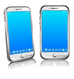 Cell Smart Mobile Phone White 3D and 2D. Stylish modern cell mobile phone on a white background with reflection - All elements are grouped and on individual Stock Photos