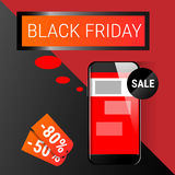 Cell Smart Phone Big Holiday Sale Black Friday Online Shopping. Flat Vector Illustration Stock Image