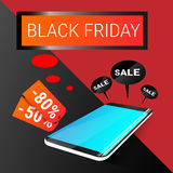 Cell Smart Phone Big Holiday Sale Black Friday Online Shopping. Flat Vector Illustration Royalty Free Stock Photography