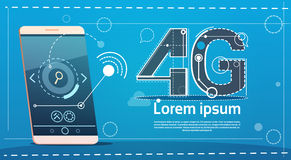 Cell Smart Phone 4g Internet Speed Social Network Communication Concept. Flat Vector Illustration Royalty Free Stock Photography