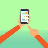 Cell smart phone hands point finger tocuh screen. Icon flat design vector illustration Stock Photo