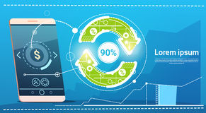 Cell Smart Phone Update Arrow Finance Success Concept. Flat Vector Illustration Stock Photos
