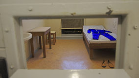 Cell in Stasi prison, view through cell door window, Berlin Stock Image