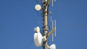 Cell Telecom Tower And Moon Royalty Free Stock Photos
