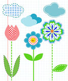 Cell. Three flowers on a school papper backdround Royalty Free Stock Photo