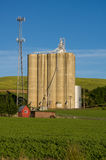 Cell tower and grain silo with green field Stock Images