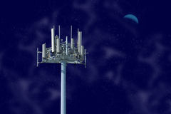 Cell Tower At Night. A cell tower backed by moon and stars Royalty Free Stock Photos