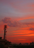 Cell Tower Sunset In Gurgaon Near New Delhi India Royalty Free Stock Images