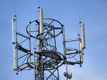 Cell tower top antennae. Mobile telephony & telecommunication - GSM technology Stock Image