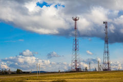 Cell towers stock image