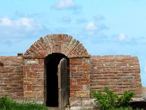 Cellar. Very old cellar. Sky background. Red brick Royalty Free Stock Images