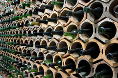 Cellar. Pattern of empty bottles in a cellar Stock Photos