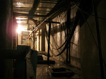 Cellar. Dirty wet old and frightful basement stock image