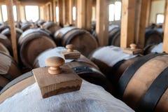 Cellar with balsamic vinegar barrels Stock Images