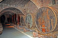 Cellar of monastery. The cellar in the benedectine Abbey of Monte Oliveto Maggiore in Tuscany, Italy stock images
