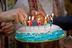 The cellar burns the candle . Birthday. Colorful happy birthday candles . stock photos