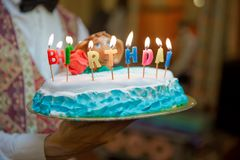 The cellar burns the candle . Birthday. Colorful happy birthday candles . stock photo