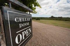 Cellar Door. Sign Cellar Door Open on Australian winery Stock Photos