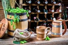 Cellar full of fresh beer Stock Photo