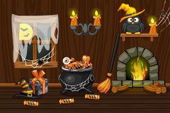 Cellar house, illustration interior wooden room with halloween symbols and fireplace. Cellar vector house, illustration interior wooden room with halloween vector illustration