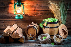 Cellar and ingredients for homemade beer Royalty Free Stock Photography